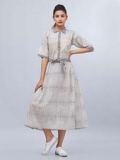 Off White Black Hand Block Printed Cotton Dress