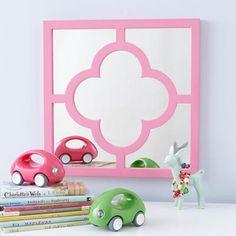$69 Kids' Room Decor: Kids' Hanging Pink Clover Mirror in Mirrors