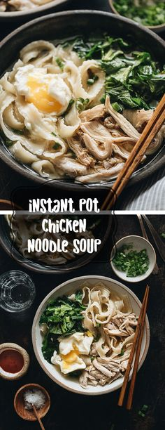 Asian Instant Pot Chicken Noodle Soup (A Pressure Cooker Recipe) - The heartiest and easiest one-pot dinner - you can simply dump in the ingredients and forget about it, and it'll be ready in 30 minutes.