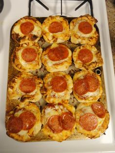 Mini pizzas! Place Pillsburry biscuit rolls on cookie sheet/ muffin tin top with 1 tablespoon of pizza sauce, pepperoni and shredded cheese. Bake on 350 degrees for about 10 mins. Made these tonight, do good!