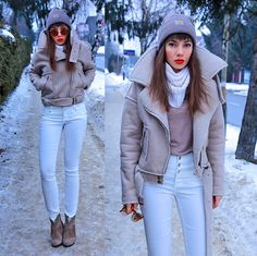 Jointy&Croissanty ©. - faux sheepskin jacket and high waisted pants