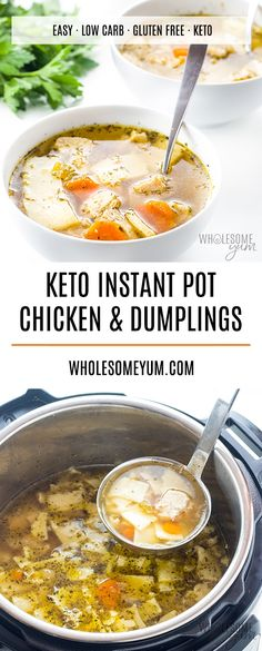 Keto Low Carb Gluten-Free Chicken and Dumplings Recipe - Low carb keto gluten-free chicken and dumplings are comfort in a bowl! This Instant Pot pressure cooker chicken and dumplings recipe is easy…More Guilt Free Keto Instant Pot Pressure Cooker Recipes Pressure Cooker Chicken And Dumplings Recipe, Chicken And Dumplings Gluten Free, Chicken Dumplings, Flour Dumplings, Keto Chicken Soup, Keto Soup, Recipe Chicken, Keto Foods, Paleo Diet