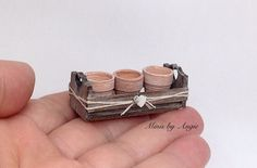 Dollhouse miniature crate with pots. Rustic crate. by MinisbyAngie