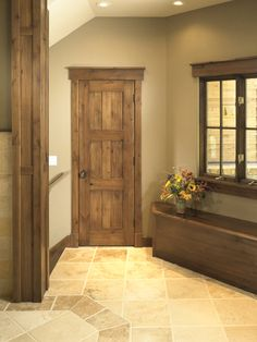 Rustic Craftsman Interior Closet Door (Square Top Rail, 6-Panel, A1, Knotty Alder, Yampa River with Walnut Glaze Finish)