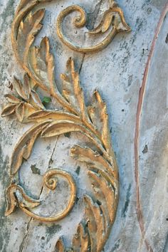 Detail of faded patina, gold leaf and special blue by Elise Valdorcia by helene