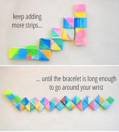 How to make this lovely folded paper bracelet.