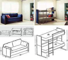 A sofa that can transform into a bunk bed