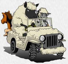 sheep drive jeep drew by Flash CS3