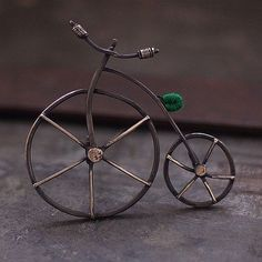 bicycle green  bicycle brooch sterling silver by ewalompe on Etsy, $116.00. A frickin' dorable.