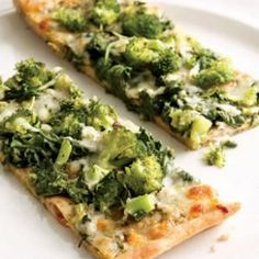 Green Pizza  Why not use cooler-weather vegetables like broccoli and arugula as an unconventional pizza topping? The arugula adds a slightly bitter, peppery taste—for a milder flavor, use spinach instead. Serve with wedges of fresh tomato tossed with vinegar, olive oil, basil and freshly ground pepper.