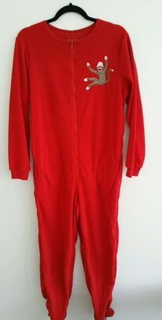 Nick and Nora PJs Pajamas Footie Footed Red Fleece Monkey Medium NWOT #NickNora #OnePiece
