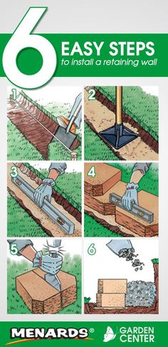 6 Easy Steps to Install a Retaining Wall from the Menards Garden Center. Read full article: http://www.menards.com/main/c-10050.htm?utm_source=pinterest&utm_medium=social&utm_content=installing_retaining_wall&utm_campaign=gardencenter