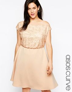 ASOS CURVE Skater Dress With Sequin Top