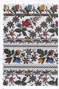 Palestinian Embroidery, Hungarian Embroidery, Folk Embroidery, Embroidery Patterns Free, Cross Stitch Embroidery, Cross Stitch Geometric, Cross Stitch Borders, Cross Stitch Flowers, Cross Stitching