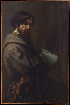 Alphonse Promayet by Gustave Courbet.  Here, Promayet holds his violin while adopting a soulful expression befitting a struggling musician.  (1851)