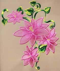 Lily lace free machine embroidery design. Machine embroidery design. www.embroideres.com