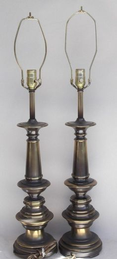 Pair Of Westwood Brass Table Lamps Mid Century Stiffel Era W/3-Way Lights