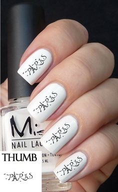 Paris France nail decal by DesignerNails on Etsy, $3.95
