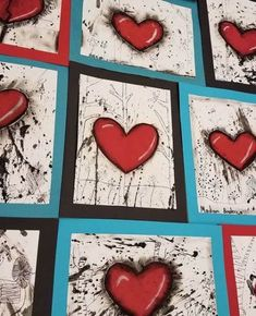grade is finishing up these Jim Dine inspired hearts this week. These are turning out awesome! Valentines Art Lessons, Valentine Crafts, Valentines Art For Kids, 6th Grade Art, Ecole Art, Middle School Art, Art Lessons Elementary, Art Lesson Plans, Art Classroom