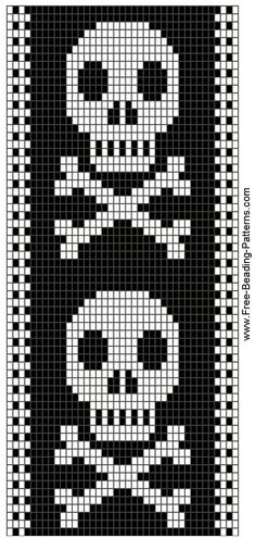 Skull bead pattern, so Hailey. Beading Patterns Free, Bead Loom Patterns, Peyote Patterns, Bracelet Patterns, Cross Stitch Bookmarks, Cross Stitch Charts, Cross Stitch Patterns, Knitting Charts, Knitting Patterns