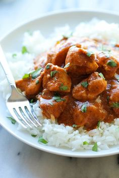 Slow Cooker Butter Chicken - Skip the take-out and try this super easy, lightened-up creamy butter chicken right in the crockpot!