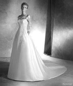 pronovias atelier 2016 haute couture ionela mikado silk lace a line wedding dress three quarter sleeves