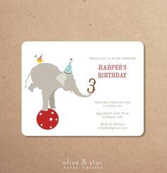 circus elephant  kids birthday invitation set by OliveandStar, $16.75
