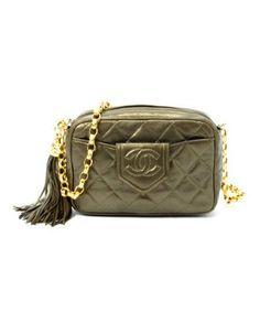 Chanel : olive matelasse lambskin fringe vintage chain shoulder bag
