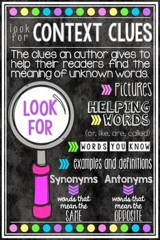 Context clues poster FREEBIE!!! Can be printed in large format!