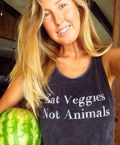 Beautiful vegan Ellen Fisher in our Eat Veggies tee www.inthesoulshine.com.au