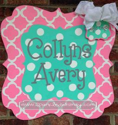 Personalized Quatrefoil Baby Sign For Hospital Door (Bright Pink/Turquoise) on Etsy, $50.00