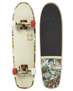 Globe Bruiser Cruiser Skateboard - Off White Jungle Longboard Design, Skateboard Design, Cruiser Skateboards, Cool Skateboards, Beach Bag Essentials, White Shoes Men, Pool Accessories, Longboarding, Boards