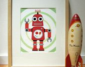 Robot Art Print - Wall Art - Kids Art - Children. $22.00, via Etsy.
