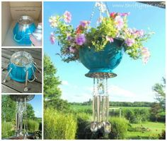 Colander hanging planter with spoon windchime
