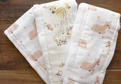 Burp cloth set in pink fawns // did you know I can do burp cloths in any of our fabrics? I can just ask!! Have a great Tuesday