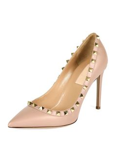 Rockstud+Leather+Pump,+Poudre+by+Valentino+at+Bergdorf+Goodman.