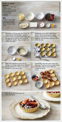 60 Sweet Wedding Finger Food Ideas And Mini Desserts; Tart Recipes, Baking Recipes, Sweet Recipes, Dessert Recipes, Healthy Recipes, Fruit Tartlets, Mini Fruit Tarts, Mini Tartlets, Plats Ramadan