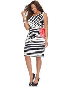 love the black and white with a pop of pink. AGB Plus Size Dress, Sleeveless Striped Side Tie