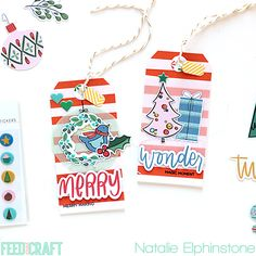 Holiday tags by Natalie Elphinstone (Comfort and Joy kit designed by Brandi Kincaid)