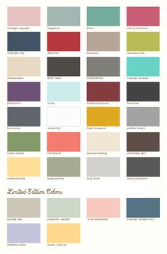 Paint colors of Country Chic's chalk-based furniture paint
