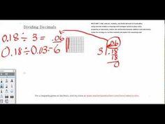 Dividing Decimals Video - models and solves with standard algorithm.