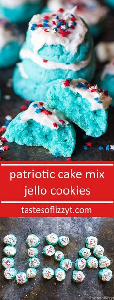 Patriotic Cake Mix Jello Cookies. A wonderful combination of a boxed cake mix and Jell-O. These are so simple and fun to decorate for the 4th of July! easy patriotic dessert recipe via @tastesoflizzyt