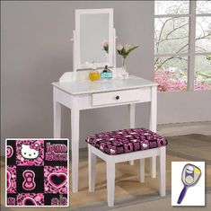 New Bob Marley Themed White Finish Make Up Vanity Set with Adjustable Mirror and Bench with your choice of seat cushion theme Also includes free hand purse mirror *** Check out this great product. Wood Vanity, Vanity Set, Bedroom Furniture Sets, Furniture Plans, Dressing Table Mirror, White Zebra, Buy Wood, Bench Cushions, Quality Furniture