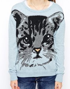 Enlarge Paul & Joe Sister Knitted Sweater with Cat Intarsia
