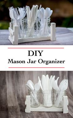 DIY mason jar organizer Idea | mason jar desk organizer | DIY Utensil organizer for barbecue | DIY hostess gift idea | scrap wood project idea
