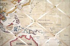 Medium Clarke & Clarke Stone Map Atlas Australia, Malaysia, North Pacific Hand Crafted Fabric Notice / Pin / Memo Board