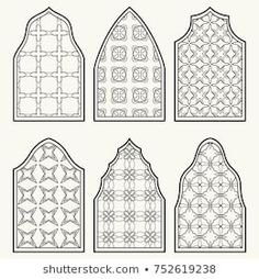 Set of 6 windows with geometric ornament in arabian style. Traditional arabic or islamic ornamental windows in black and white. Isolated design elements for invitation, greeting card, coloring page Mosque Architecture, Prayer Room, Arched Windows, Islamic Art, Pattern Art, Design Elements, Coloring Pages, Greeting Cards, Urban