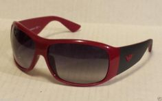 Emporio Armani men sunglasses wrap sport style black and red frame black lenses
