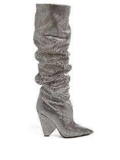 Niki slouch crystal-embellished boots | Saint Laurent | MATCHESFASHION.COM US