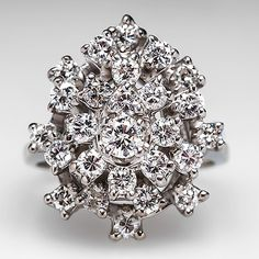 3-Tiered Diamond Cluster Cocktail Ring 14K White Gold. $2399.00